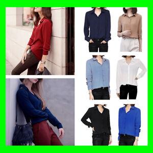 Women-039-s-Chiffon-Work-Casual-Button-Down-Long-Sleeve-Blouse-Shirt-Tunic-Tops