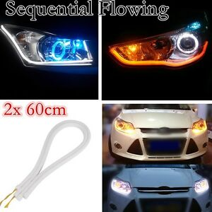Car Lights For Suzuki Hyundai Car Auto Amber White Sequential Flow Strip Led Flexible Drl Headlight Turn Signal Switchback Light Lamp Automobiles & Motorcycles
