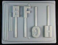 Apollo Letters E F H Lollipop Hard Candy Mold 3564
