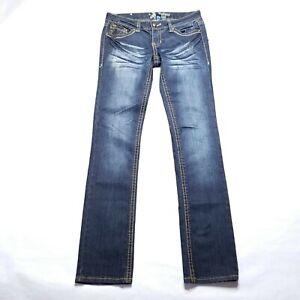 Antique-Rivet-Dark-Blue-Jeans-Zipper-Pocket-Womens-Size-28-31x33