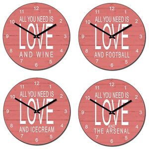 Personalised-034-ALL-YOU-NEED-IS-LOVE-AND-034-Your-Choice-here-Novelty-Wall-Clock