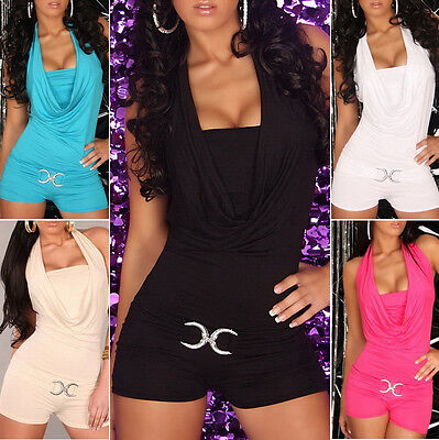 Sexy Halter Overall Romper Cowl Neck - One Size: S/M