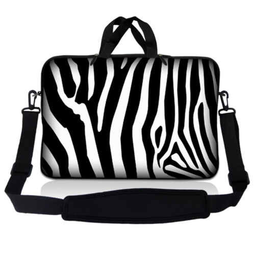 "13.3/"" 13/"" Laptop Sleeve Bag w Shoulder Strap Chromebook Macbook Zebra Print"