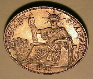 1922-French-Indo-China-20-Cents-CH-UNC-Pretty-Toned-amp-Lustrous-Silver-Chine-Coin