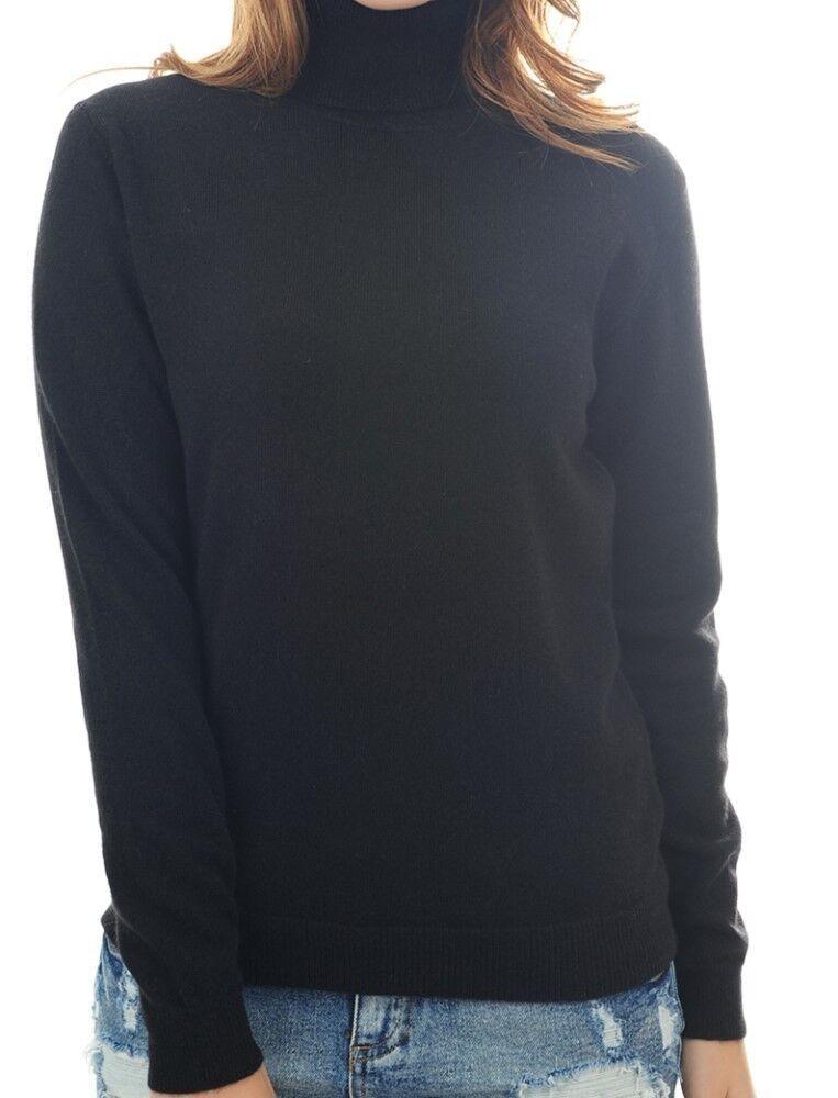 Balldiri 100% Cashmere Damen Pullover Rollkragen mit Bündchen schwarz XL