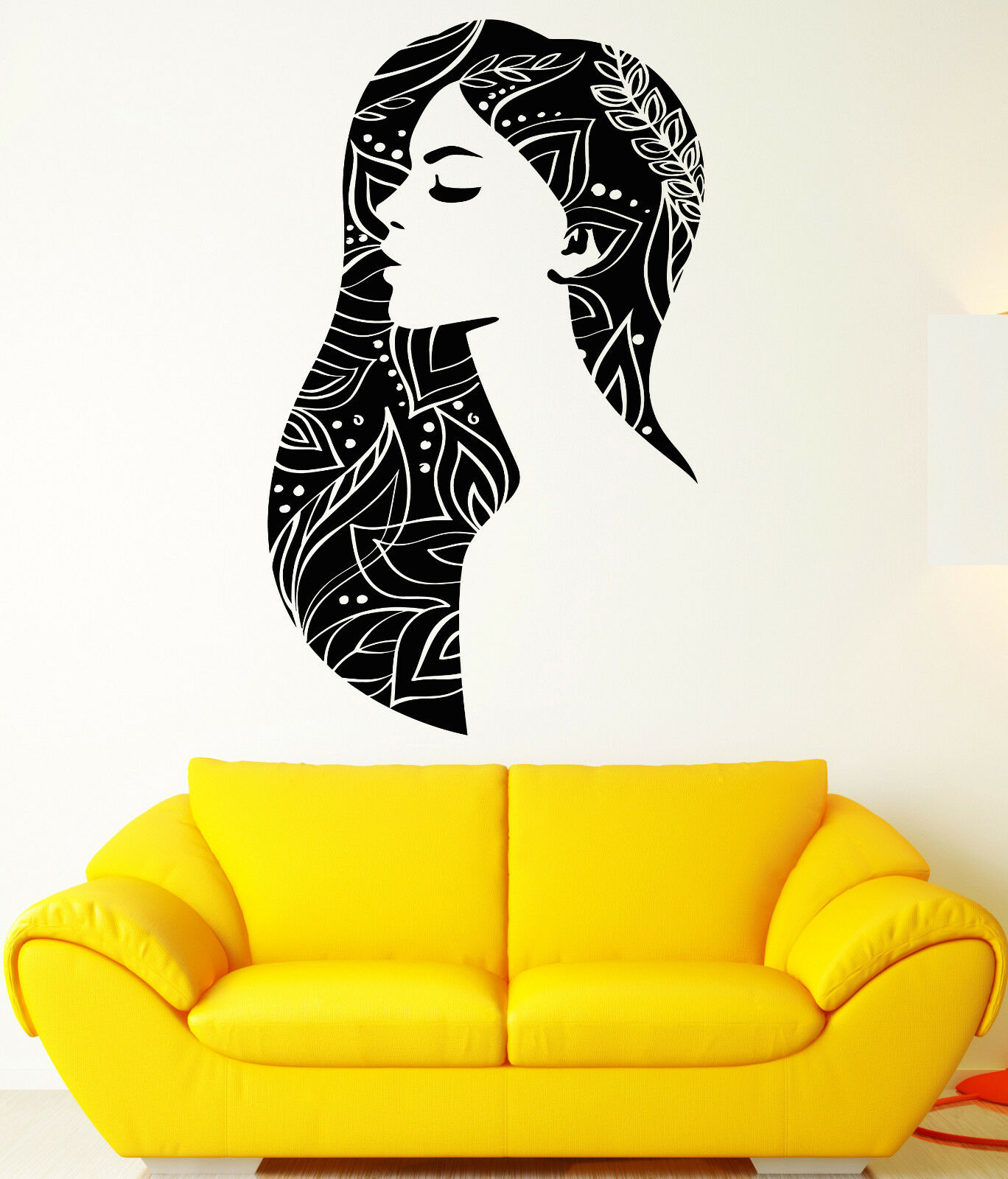 Vinyl Wall Decal Beautiful Woman Abstract Girl Beauty Hair Salon Stickers 1896ig