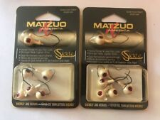 2 Packs Of 5 Matzuo Sickle jig heads SJS616-23 white w// red eyes /& red hooks