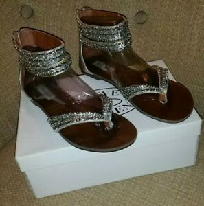 7181b64abe2 Steve Madden Women s Silver Sparkle Strap Devinne SIL MULTI Sandals ...