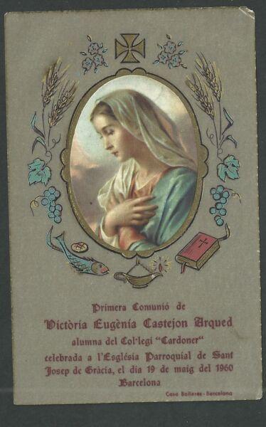 Trabajo Duro Estampa Antigua De La Virgen Andachtsbild Santino Holy Card Santini