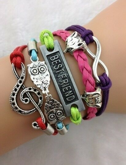 NEW Fox Infinity Owl Note Wing Leather Charm Bracelet plated Silver DIY