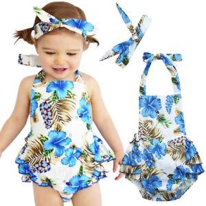 Summer Baby Girls Sleeveless Romper Jumpsuit+Headband Outfits Summer Clothes Set