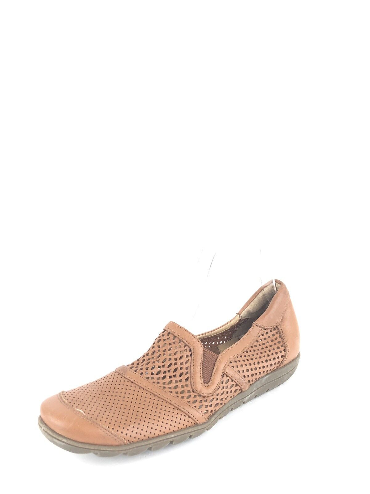 Sesto Meucci  Womens Cognac Perforated Leather Slip-On Comfort Loafer 7 N