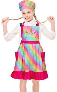 Beinou Kids Apron Chef Hat Adjustable Unicorn Vintage Child Aprons Set with 2