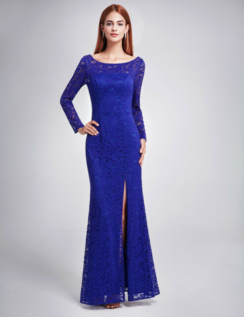 Long Sleeve Bridesmaid Evening Formal Party Sapphire Blue Gown 08883 ...