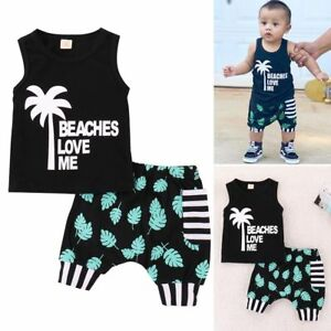 d406497d69f1 New Toddler Newborn Baby Boy 2Pcs Outfit T-shirt Tops+Shorts Pants ...