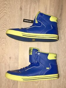sports shoes 32550 abe67 Image is loading SUPRA-VAIDER-Skate-Shoe-Sneaker-High-Tops-Blue-