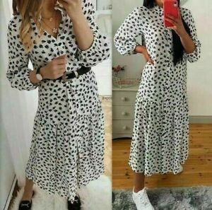 Details about ZARA WHITE BLACK FLORAL PRINT FLOWING MIDI COLLARED SHIRT DRESS,SIZE S / UK 8 10