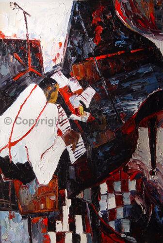 "24/"" x 36/"" The Pianoman Original Modern Handmade Oil Painting on Canvas"
