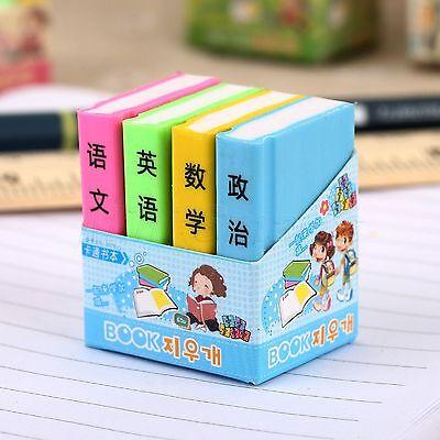 Creative Books Design Rubber Pencil Eraser Students Rewards Gift Toy 4pcs/Set