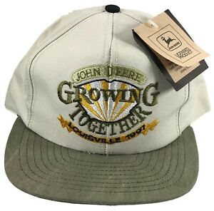 John Deere Men's NOS Growing Together Louisville 1997 USA Khaki Snapback Hat Cap