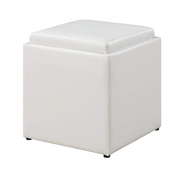 Storage Ottoman Flip Over Tray Top Coffee Table Foot Rest Stool