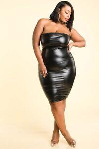 Details about Plus Size Shiny Wet PU Black Orange Faux Leather Strapless  Midi Dress 1X 2X 3X