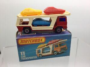 MATCHBOX SUPERFAST N. 11 auto Transporter rosso, viola di vetro, strisce Base Nuovo di zecca con scatola