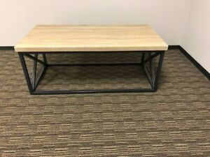 Details About Coffee Table Light Colored Faux Wood Top With Metal Bottom Light Weight
