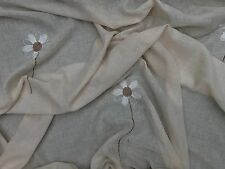 Neutral Beige Floral Flowers Muslin Window Draping Curtains Mosquito Net Bed