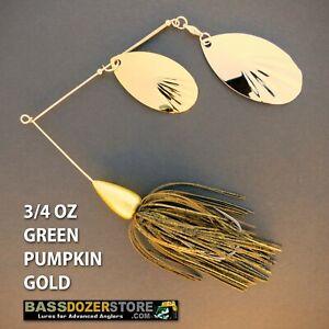 Bassdozer-spinnerbaits-FLUTED-BULLET-3-4-oz-GREEN-PUMPKIN-GOLD-spinner-bait