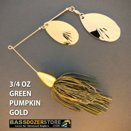 Bassdozer spinnerbaits FLUTED BULLET 3//4 oz GREEN PUMPKIN GOLD spinner bait