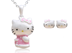 13fd780d6 Image is loading Pink-Hello-Kitty-Cat-Kitten-925-Sterling-Silver-