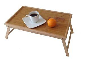 Betttablett Bambus weiß Serviertablett Betttisch Tabletttisch Frühstückstablett