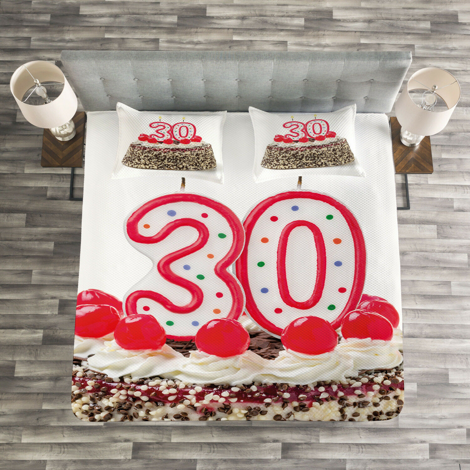 Birthday Quilted Bedspread & Pillow Shams Set, Cake Cherries Candles Print