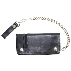 21857251f4e Image is loading Mens-Black-Leather-Bifold-Wallet-Motorcycle-Chain-Biker-