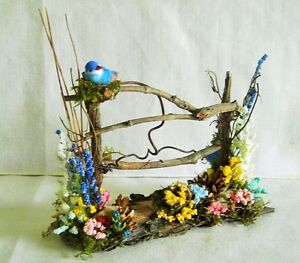 Fairy Garden Doll House Miniature TWIG FENCE w FLOWERS BLUE BIRD & POT/ SUMMER