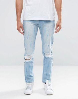 #8 Sempre Nuovo di Zecca RARA SLIM STRAPPATO E VERNICE SPLATTER Bleach Jeans..