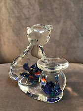 Blown Glass Cat Looking into Fish Bowl Figurine