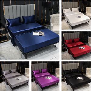 Bed-Sheets-Flat-Fitted-Sheet-Bedding-Sets-Bedskirt-Silk-Satin-Mattress-Covers