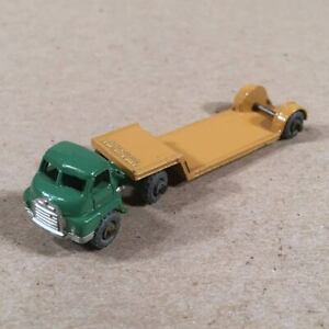 Lesney-Matchbox-27-Bedford-Low-Loader-Flatbed-Truck-Green-with-Tan-Trailer-NM