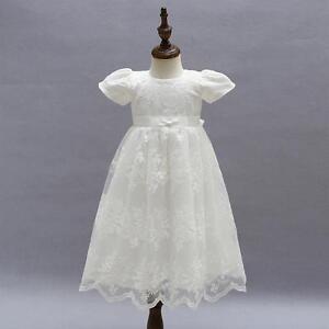 3fa041f419bcd Vintage Petite Fille Baptême Robe Ivoire Broderie Enfant Dentelle
