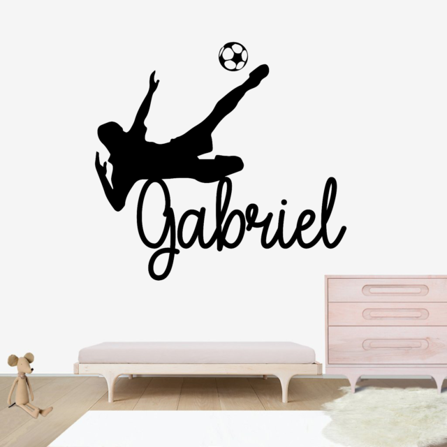 CUSTOM NAME VINYL DECAL WITH REALISTIC SOCCER BALL WALL STICKER