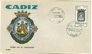FDC-Erste-Dia-Spanien-1962-Wappen-Cadiz