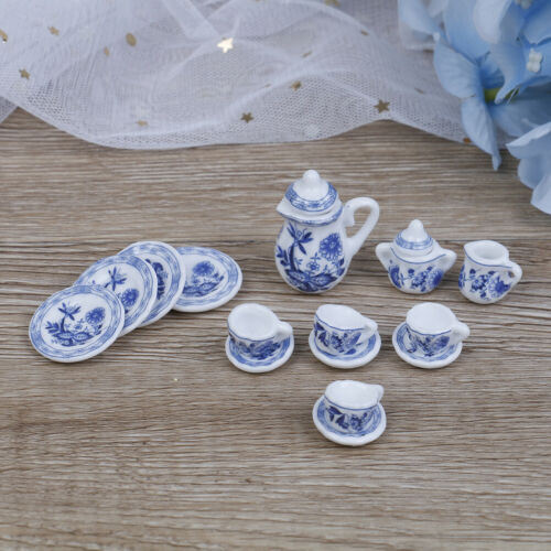 15Pcs 1:12 Dollhouse miniature blue flower tableware porcelain coffee tea RKCA