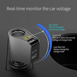 Multi-Car-Cigarette-Socket-Lighter-Splitter-Charger-Power-Adapter-3-USB-3-1A-New