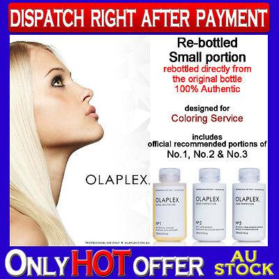 OLAPLEX NO.1 + NO.2 + NO.3 100% AUTHENTIC Re-Bottled for Coloring