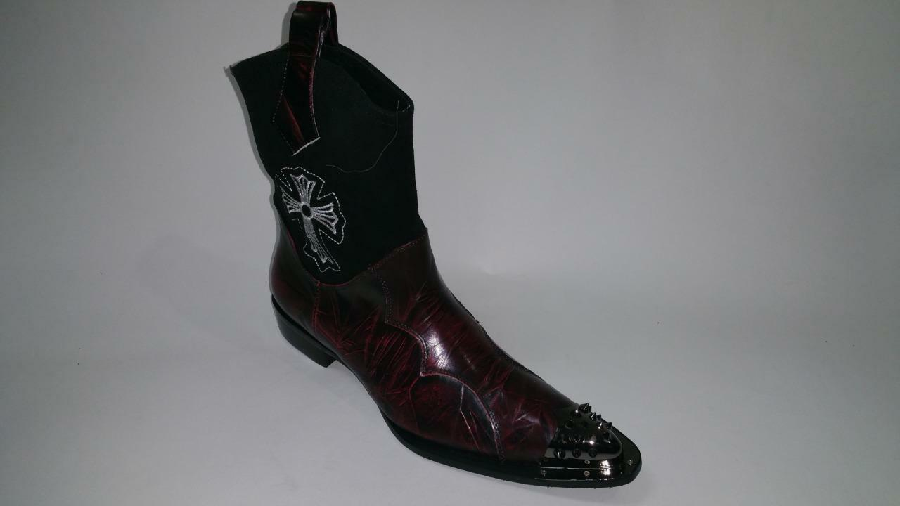 New Men's Fiesso Leather Suede Black Burgundy Pointed Metal Toe Boots FI 6836