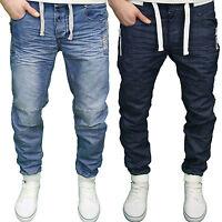 Enzo Mens Designer Branded Denim Cuffed Jogger Jeans. 28-46,