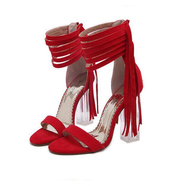 Square Toe Court Heel 9.5 CM rojo Pleather Elegant 9706