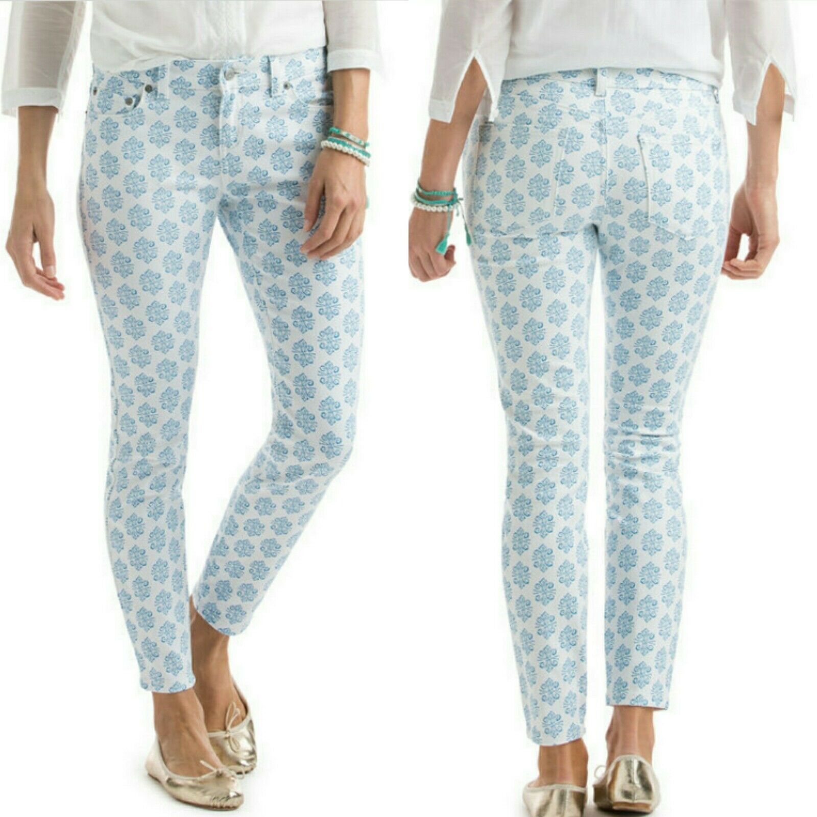 NWT Vineyard Vines Medallion Print bluee And White mid rise Skinny Jeans Size 8